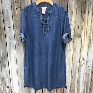 Philosophy Lace Up Tunic Dress Tencel Chambray XL